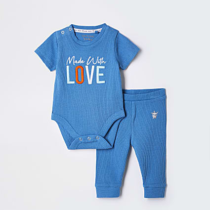 Baby blue waffle 'Love' Baby grow outfit