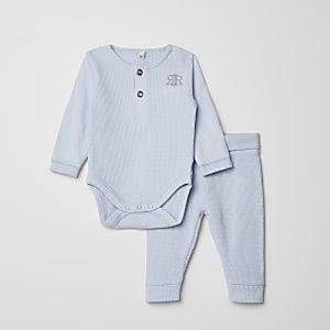 Blauwe bodysuit en legging outfit met wafeldessin en RI-print voor baby's