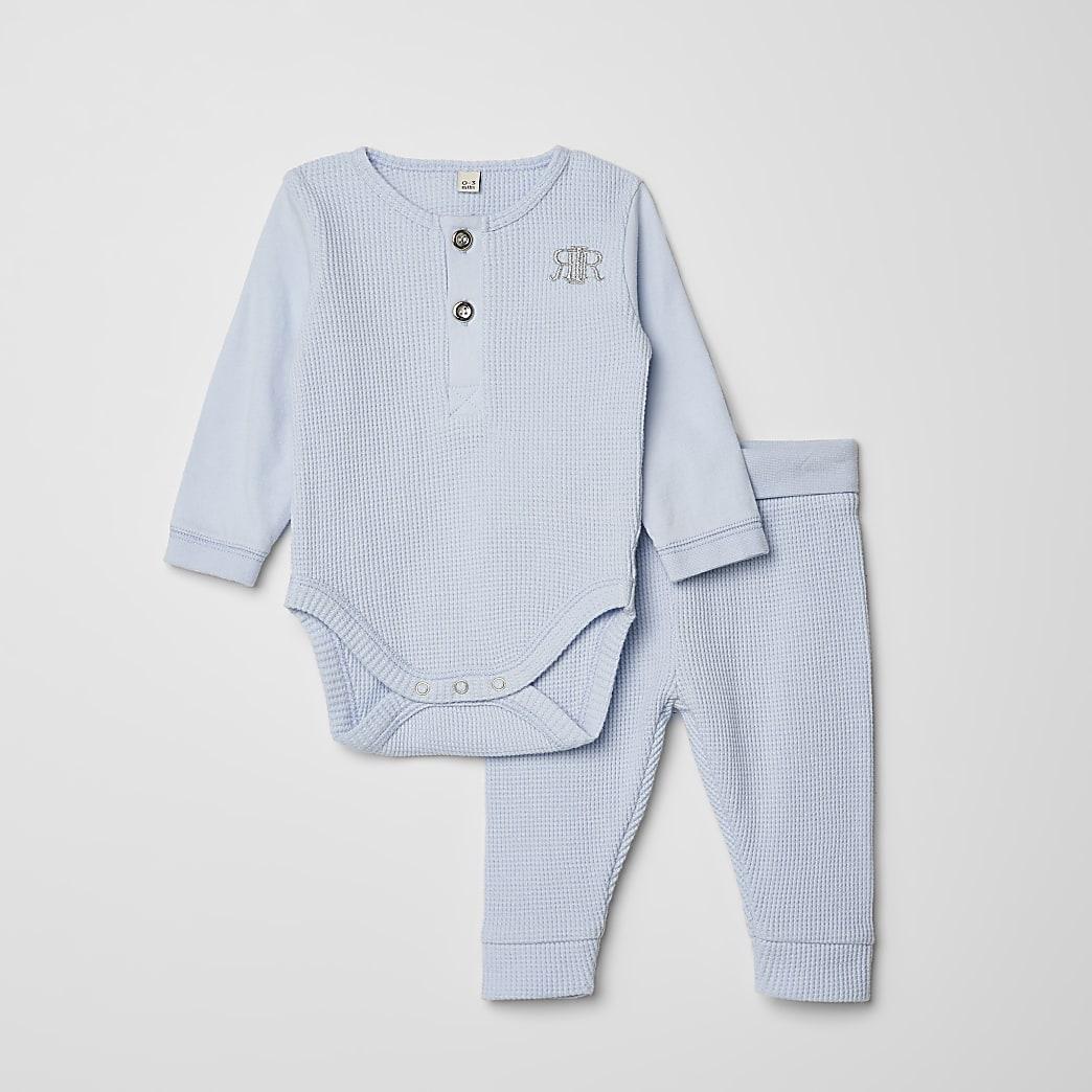 Baby blue waffle RI bodysuit legging outfit