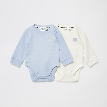 Baby blue waffle RIR bodysuit 2 pack
