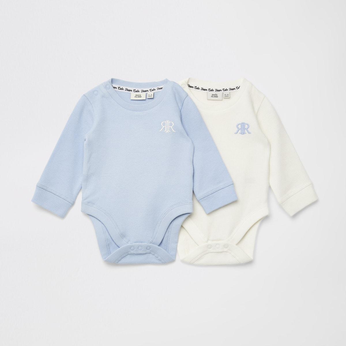 Set van 2 blauwe bodysuits met wafeldessin en RIR-print voor baby's