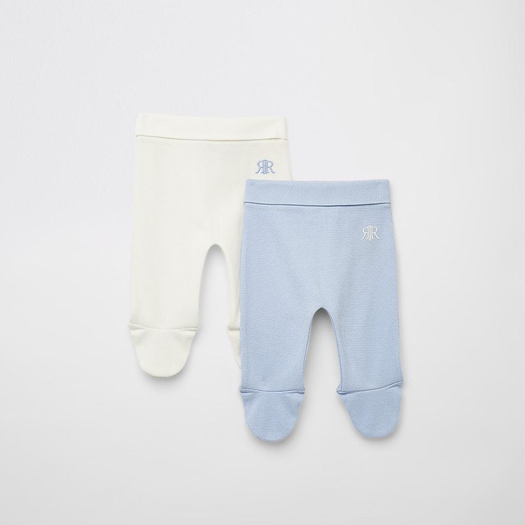 Blauwe RIR leggingsmet wafeldessin voor baby's set van 2