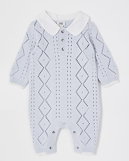 Baby blue woven collar knit all in one