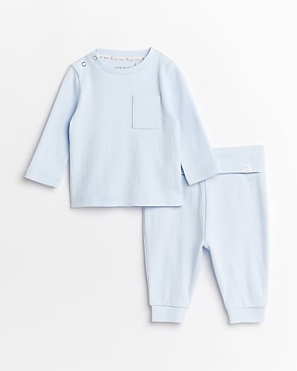 Baby boy blue rib top and joggers outfit