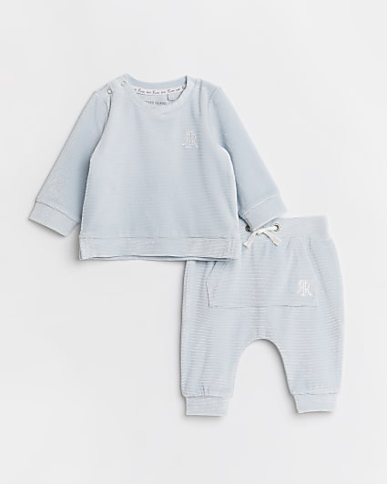 Baby boy blue velour rib jogger outfit