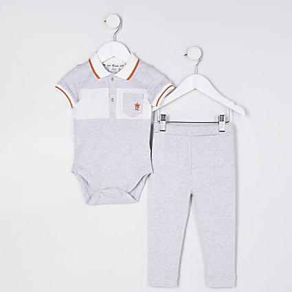 Baby boy grey polo top outfit