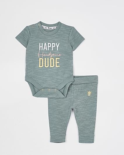 Baby boy khaki 'Happy Handsome Dude' babygrow