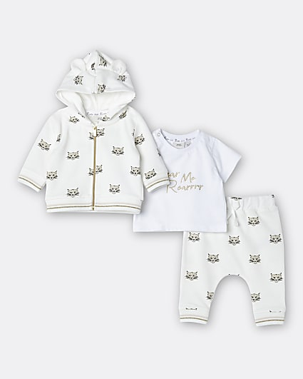 Baby boys beige lion print hoodie 3 piece set