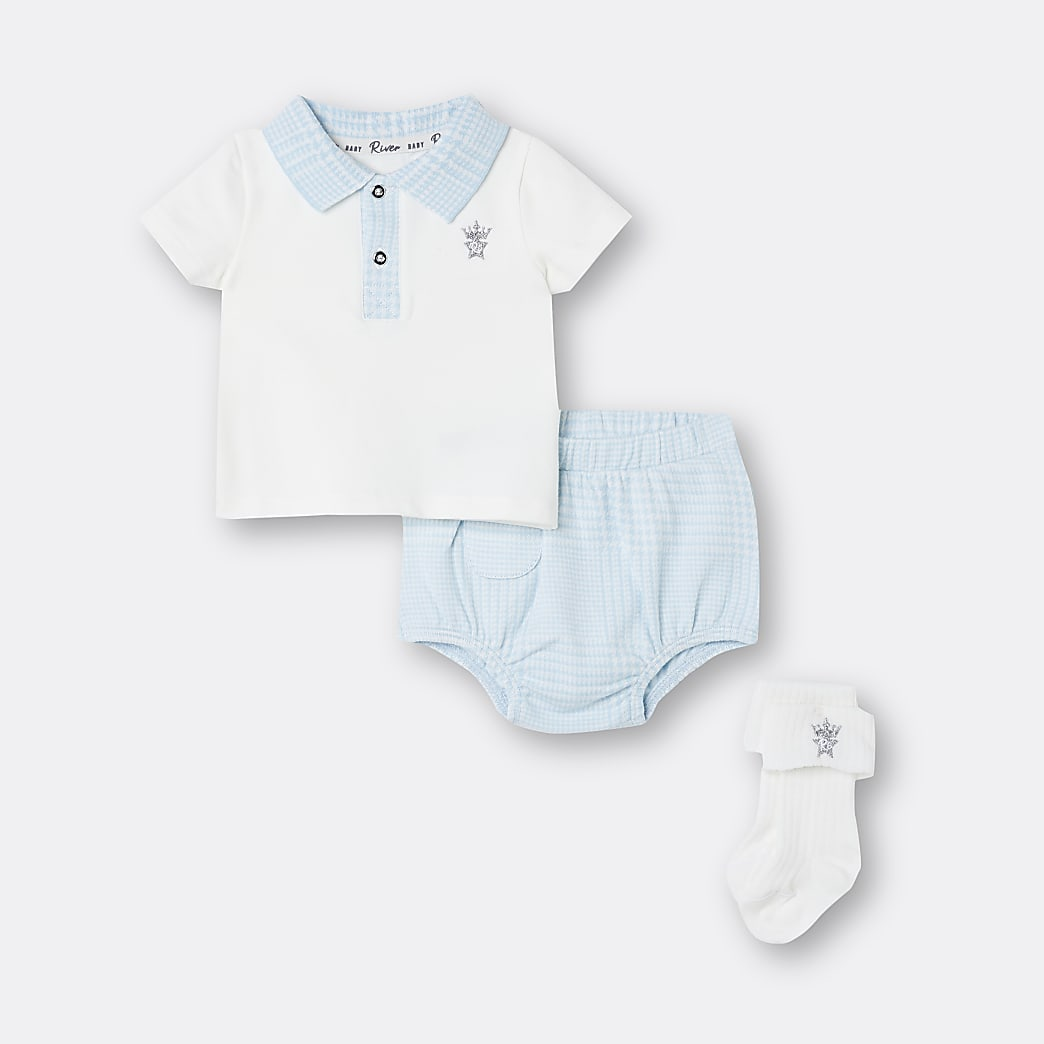 Baby boys blue check print bloomer outfit