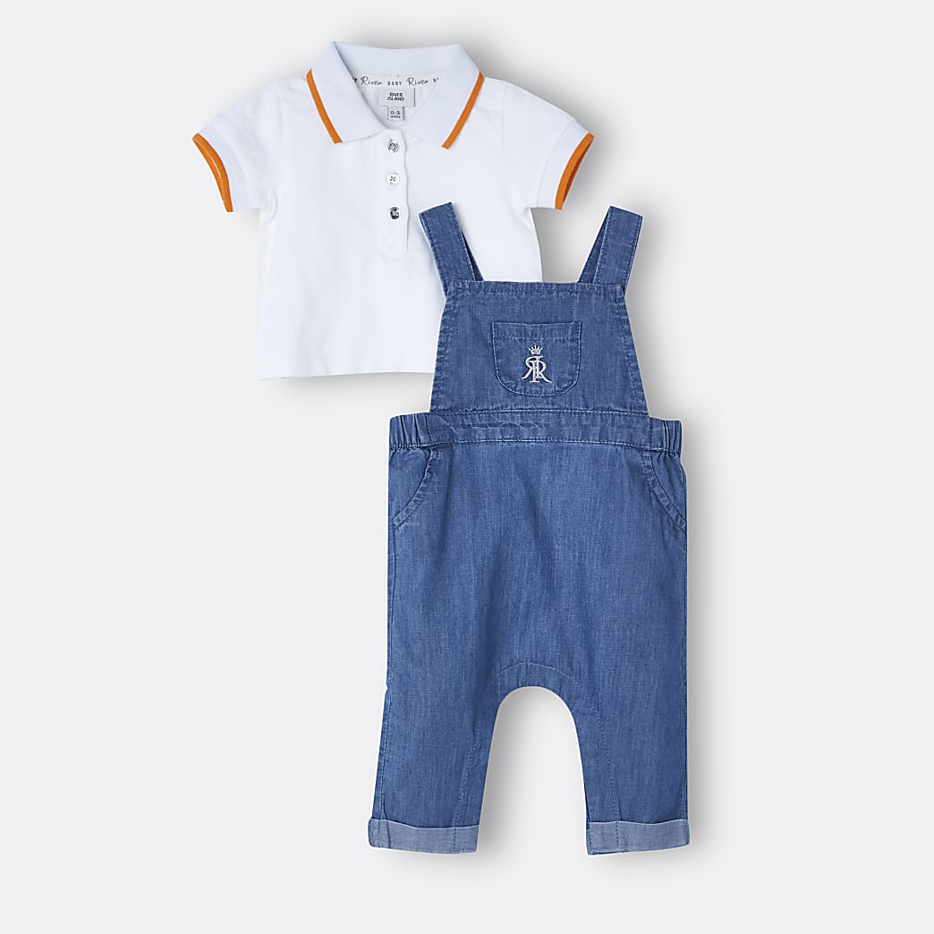 Baby boys blue denim dungaree outfit