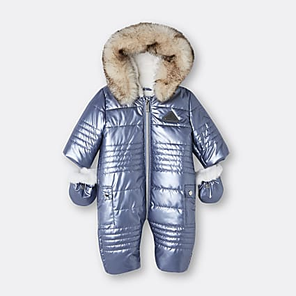 Baby boys blue high shine quilted snowsuit
