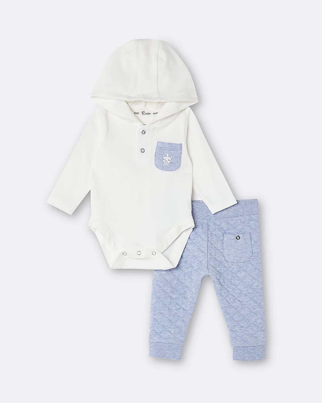 Baby boys blue hooded babygrow outfit