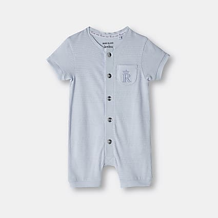 Baby boys blue organic button front romper