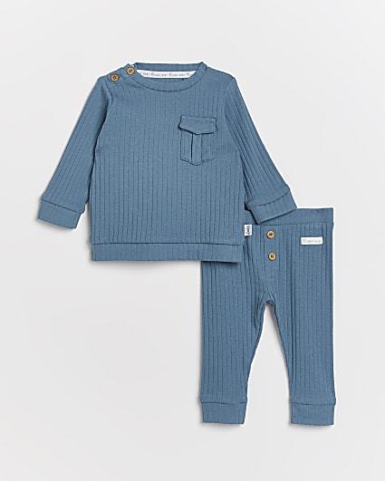 Baby boys blue organic rib 2 piece outfit