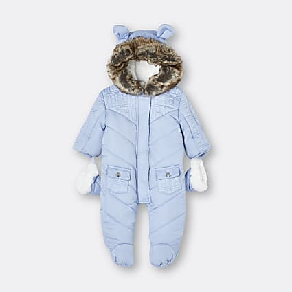 Baby boys blue quilted snowsuit