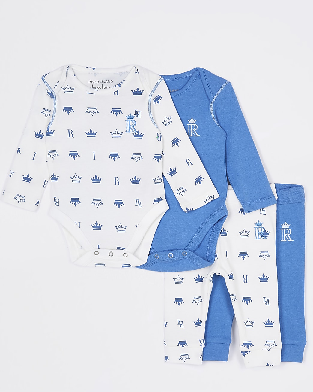 Baby boys blue RI bodysuits outfit 2 pack