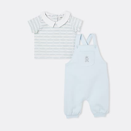 Baby boys blue RI dungaree outfit