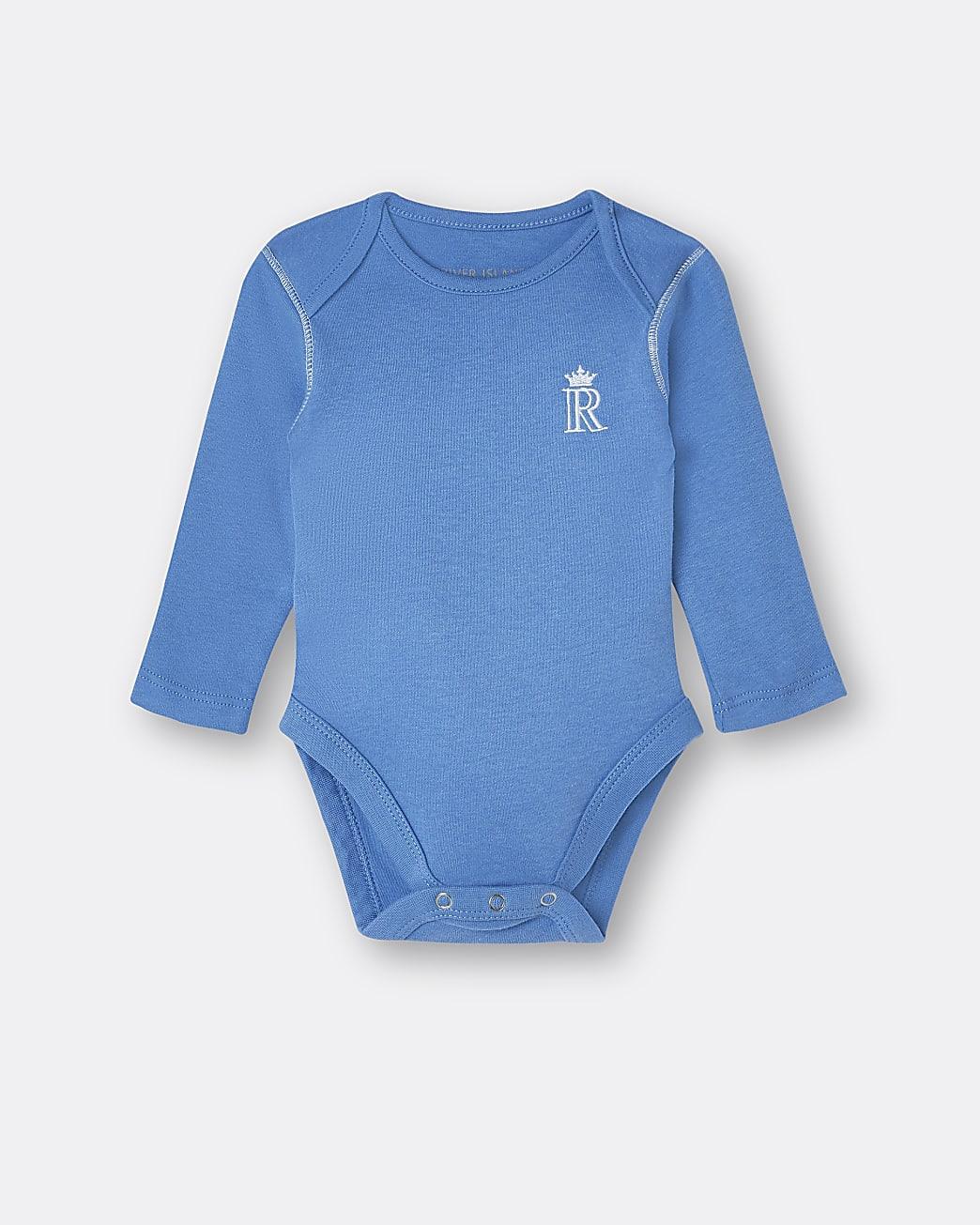 Baby boys blue RI embroidered babygrow