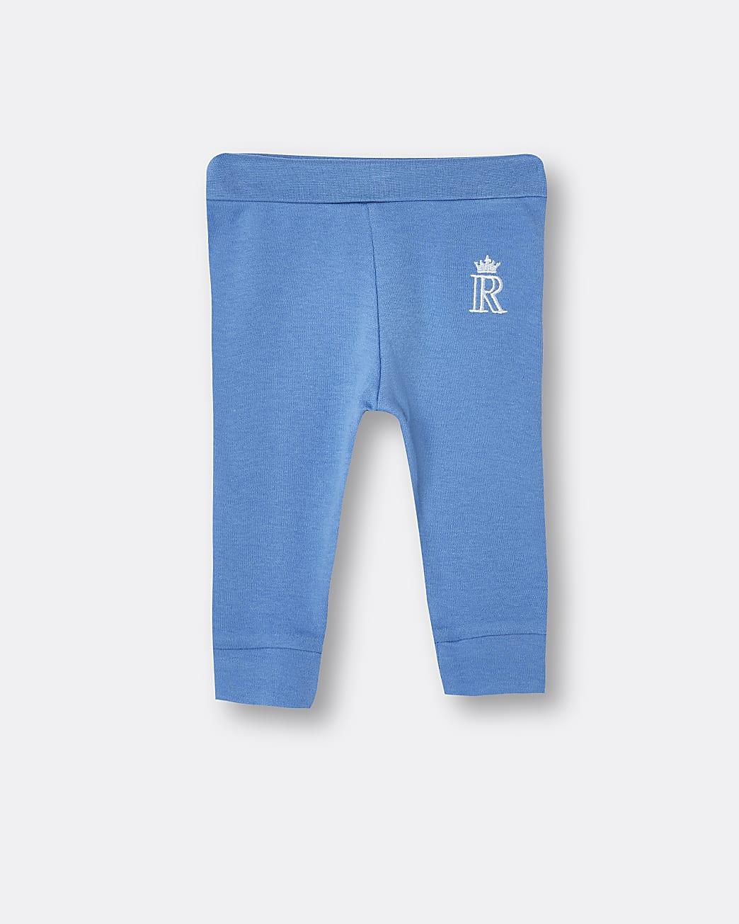 Baby boys blue RI embroidered leggings