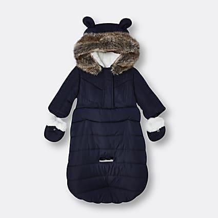 Baby boys blue RI hooded snow bag