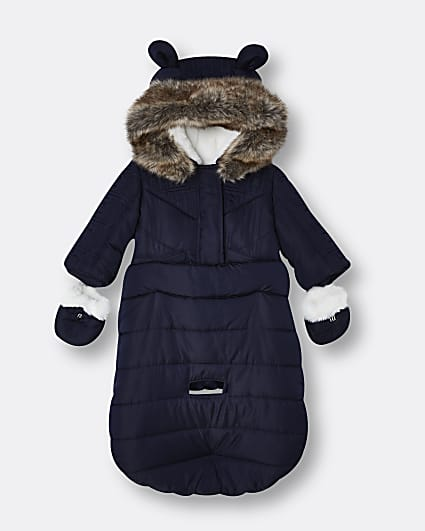 Baby boys blue RI hooded snowsuit bag