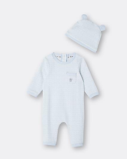 Baby boys blue RI jacquard bodysuit and hat