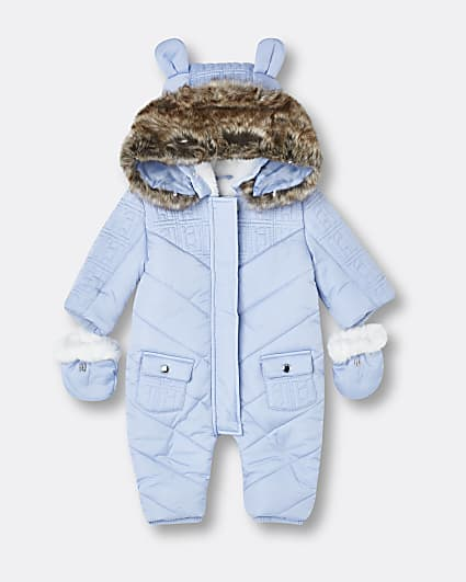 Baby boys blue RI quilted snowsuit