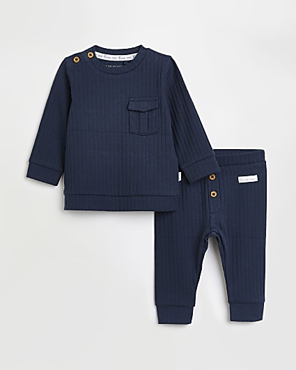 Baby boys blue RI rib top and leggings outfit