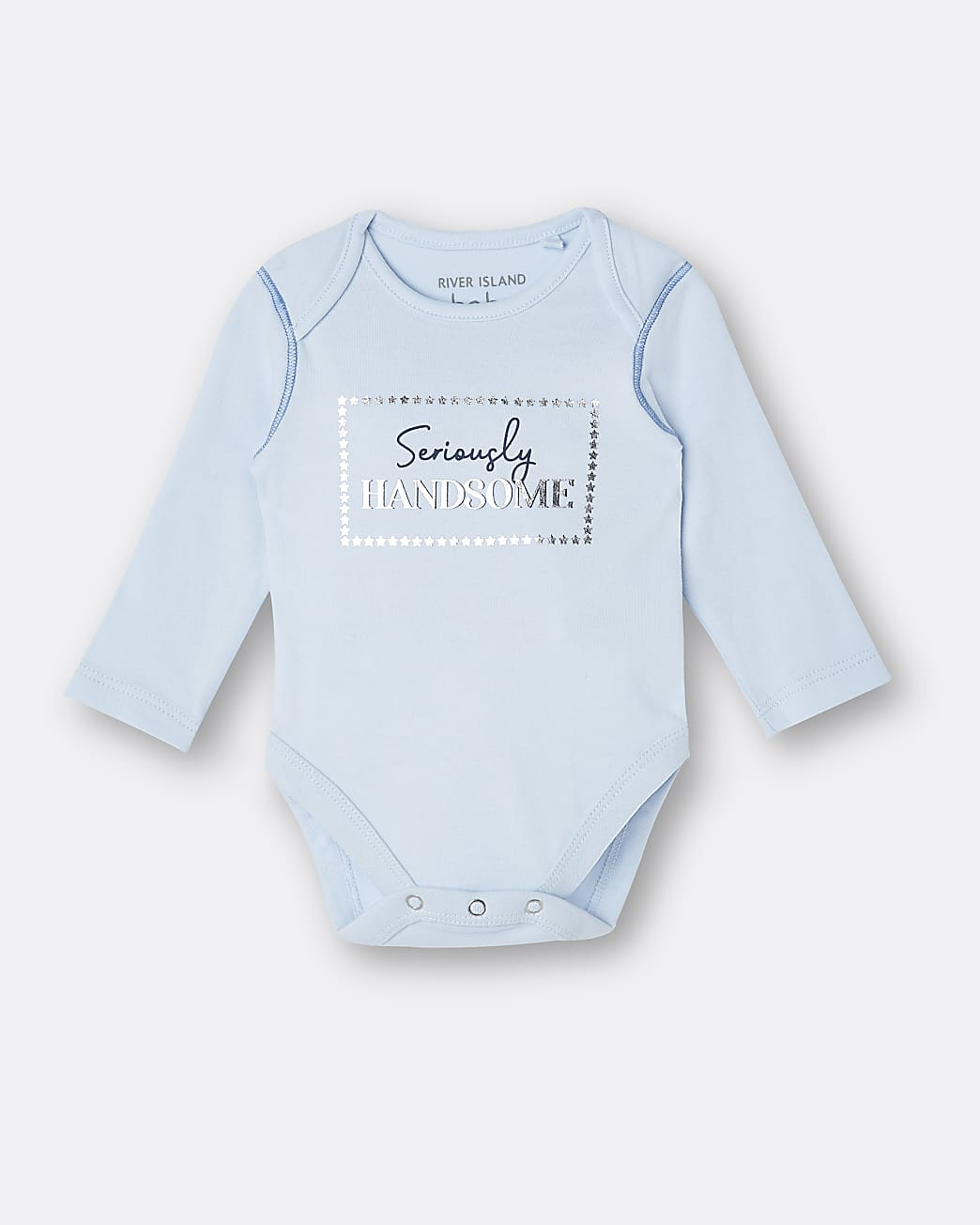 Baby boys blue 'Seriously Handsome' babygrow