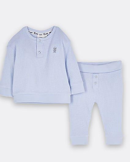 Baby boys blue waffle sweat and leggings set