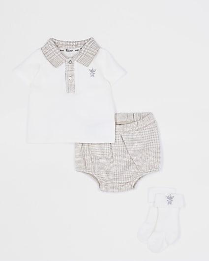Baby boys check print bloomer set