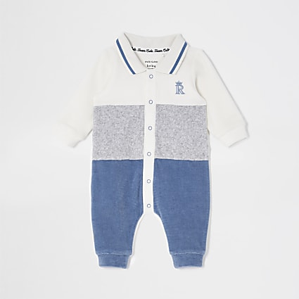 Baby boys cream colour blocked baby grow