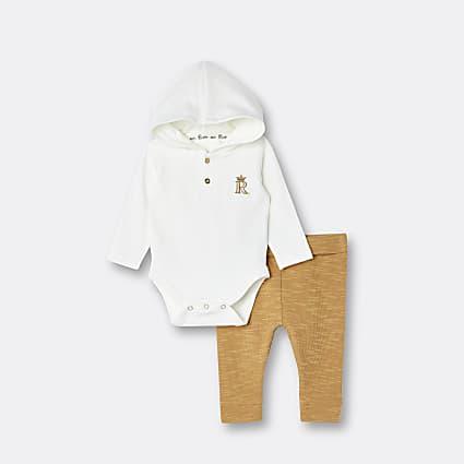 Baby boys cream hooded babygrow and leggings