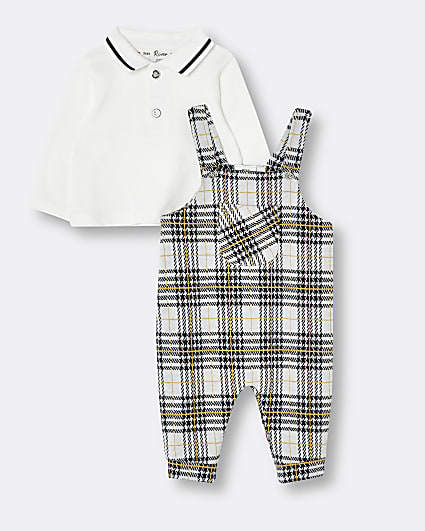Baby boys grey check dungarees outfit