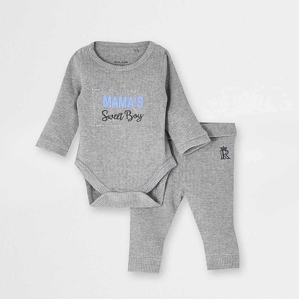 Baby boys grey 'Mamas boy' waffle outfit