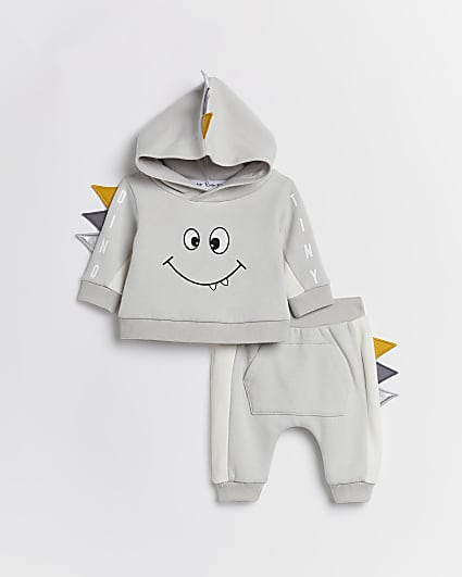 Baby boys grey monster hoodie outfit