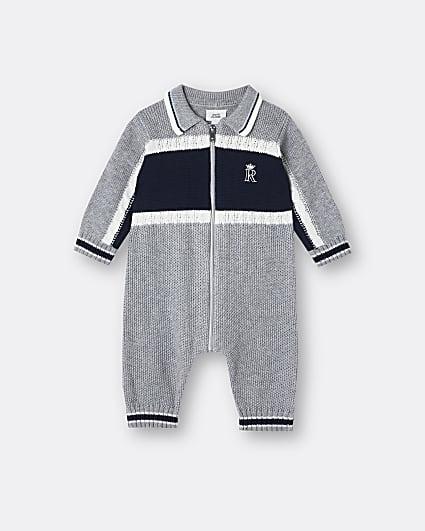 Baby boys grey RI cable knit bodysuit