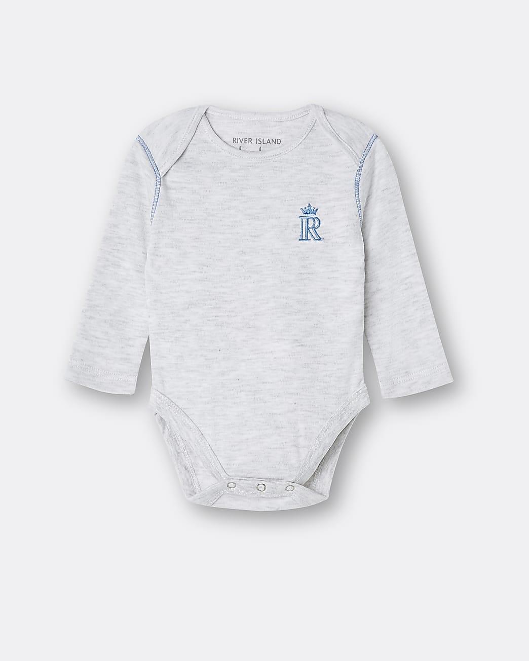 Baby boys grey RI embroidered babygrow