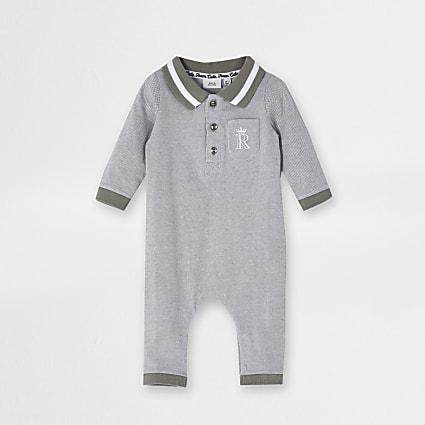 Baby boys khaki collar baby grow