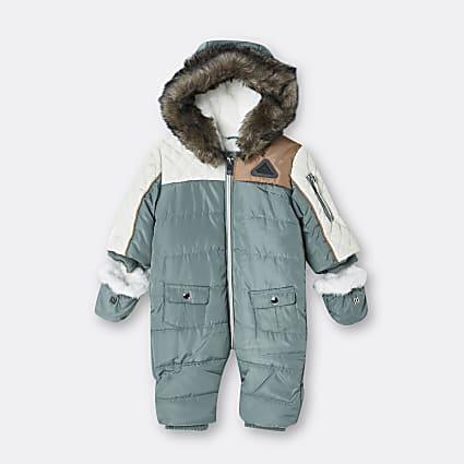 Baby boys khaki colour block snowsuit