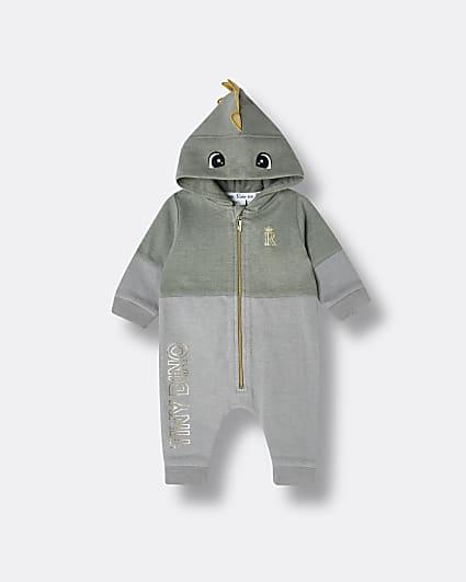 Baby boys khaki dinosaur hooded bodysuit
