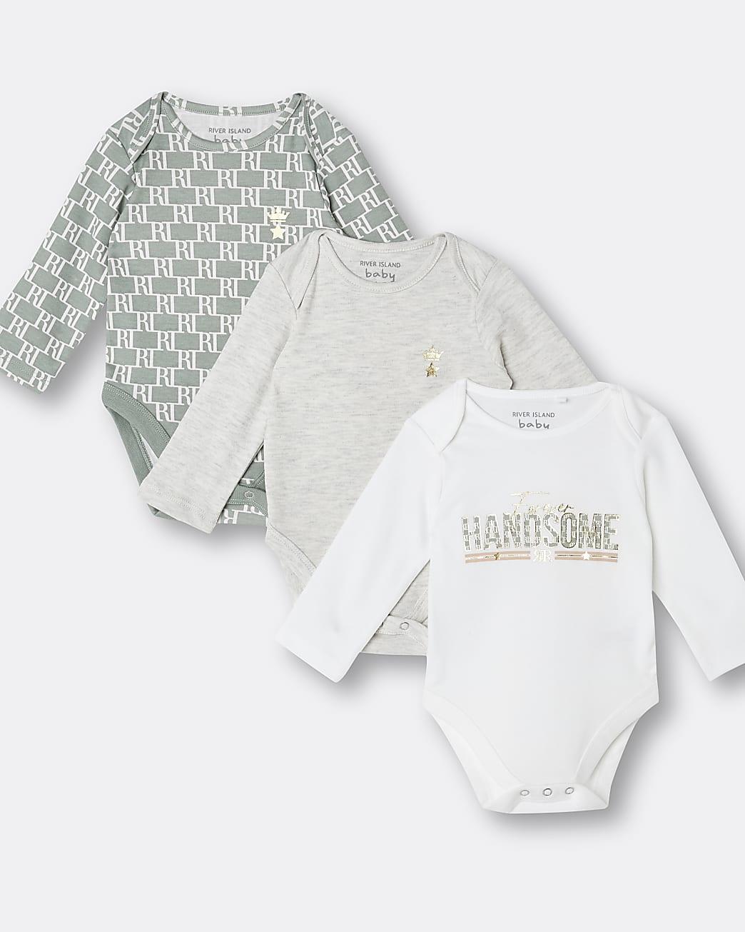 Baby boys khaki RI babygrows 3 pack