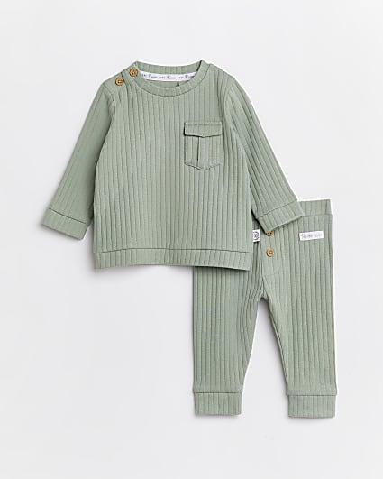 Baby boys khaki rib 2 piece outfit