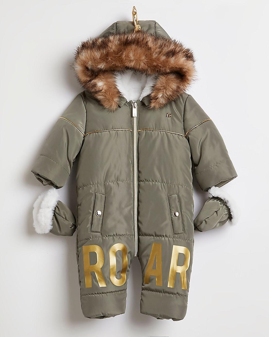 Baby boys khaki 'Roar' dinosaur snowsuit