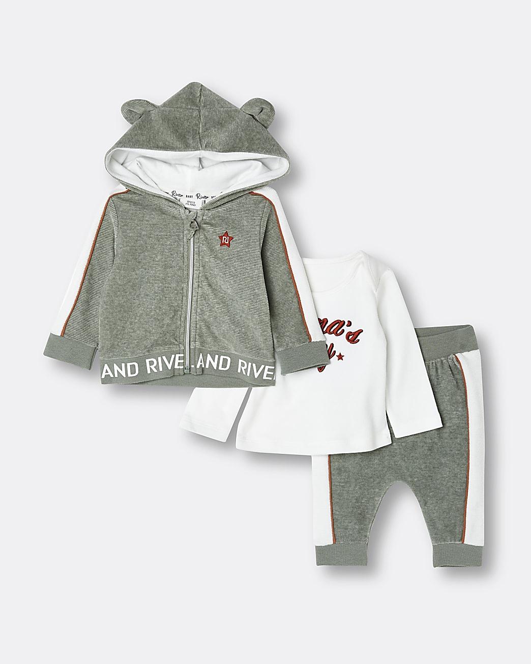 Baby boys khaki velour hooded 3 piece outfit