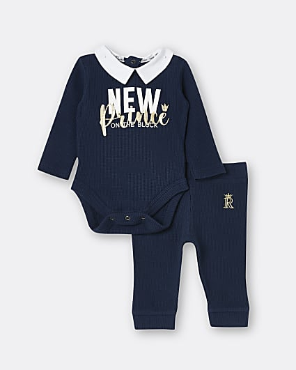 Baby boys navy 'New Prince' bodysuit outfit
