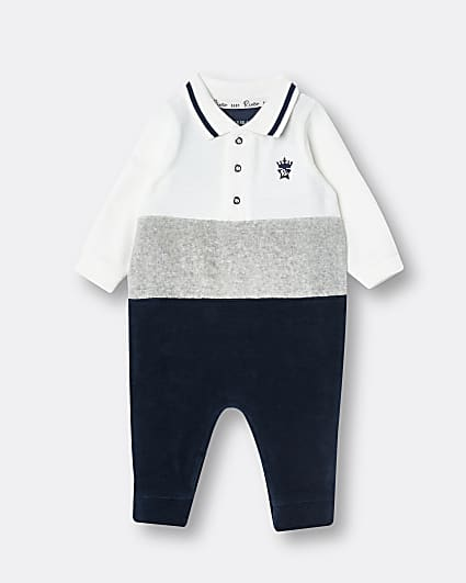 Baby boys navy RI colour block bodysuit
