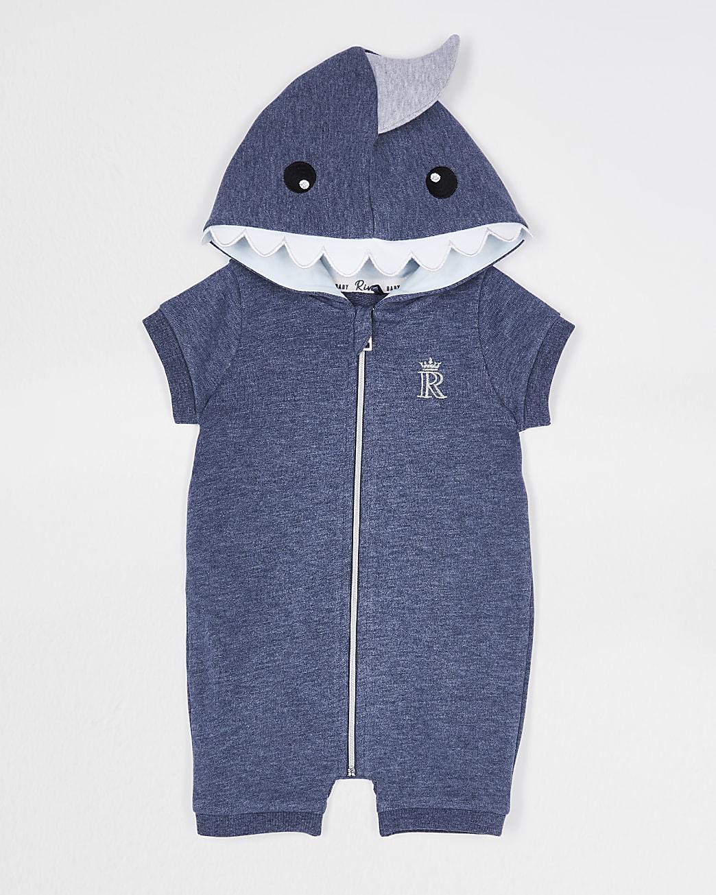Baby boys navy shark 'Tiny Dude' romper
