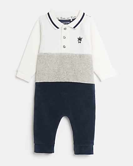 Baby boys navy velour colour block bodysuit