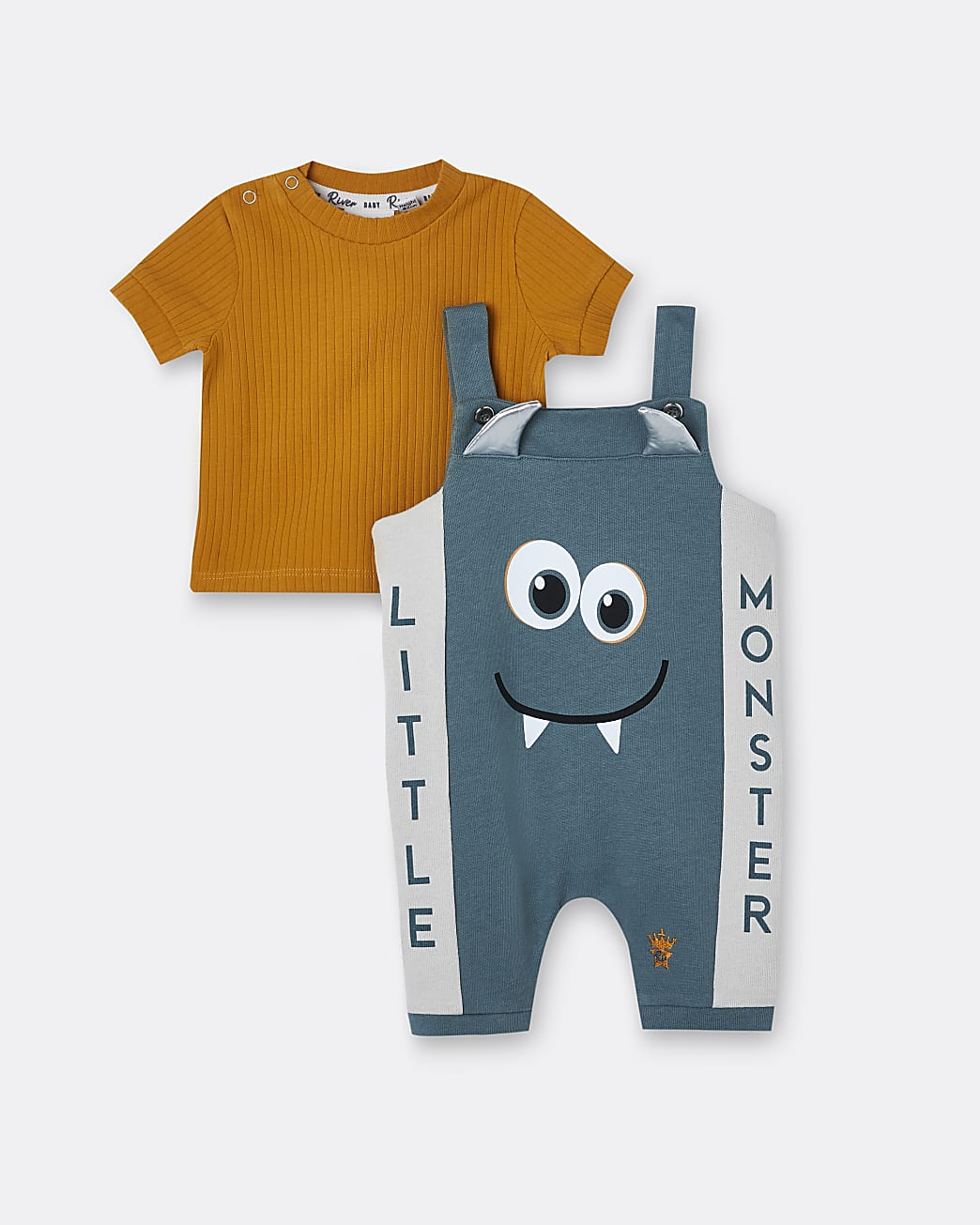 Baby boys orange monster dungaree outfit